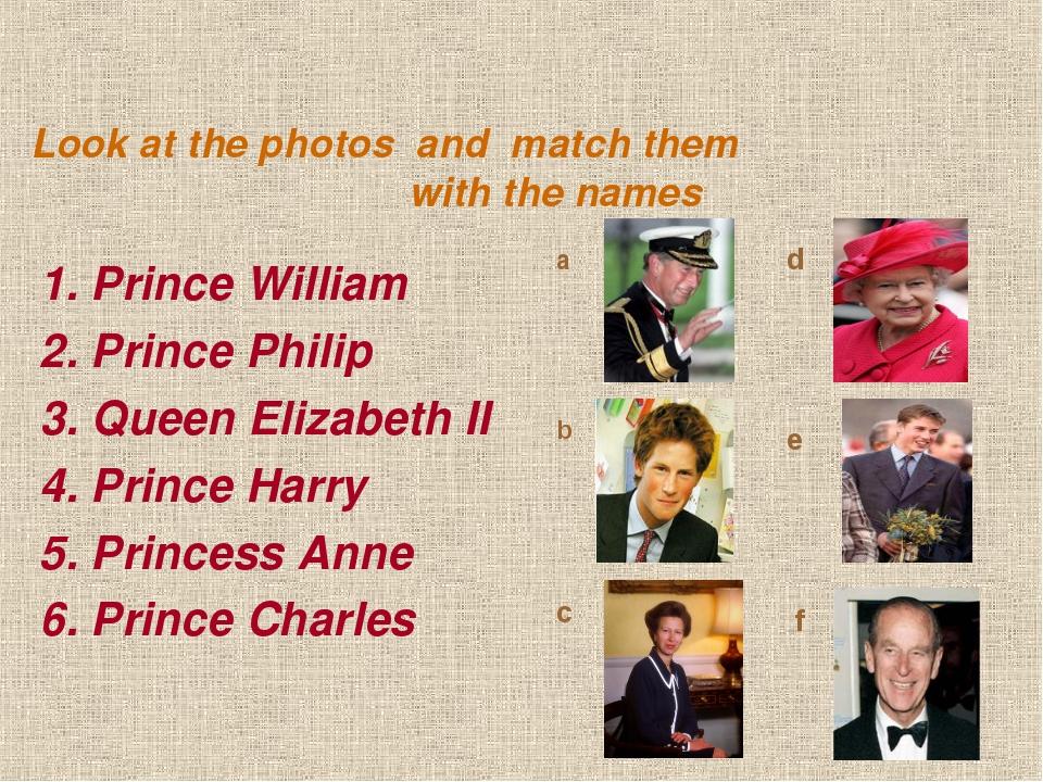 1. Prince William 2. Prince Philip 3. Queen Elizabeth II 4. Prince Harry 5. P...