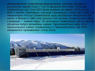 Международное спортивное мероприятие, которое пройдёт в российском городе Соч