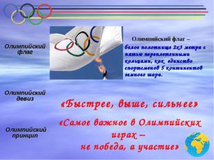 «Быстрее, выше, сильнее» «Самое важное в Олимпийских играх – не победа, а уча