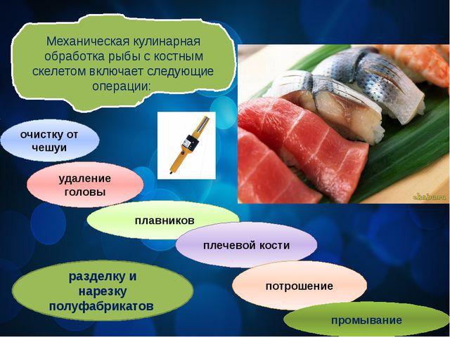 Механическая кулинарная обработка рыбы с костным скелетом включает следующие...