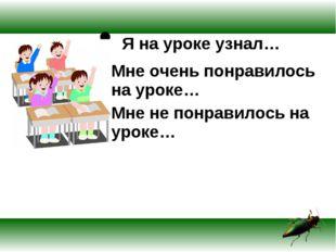 Я на уроке узнал… Мне очень понравилось на уроке… Мне не понравилось на уроке…