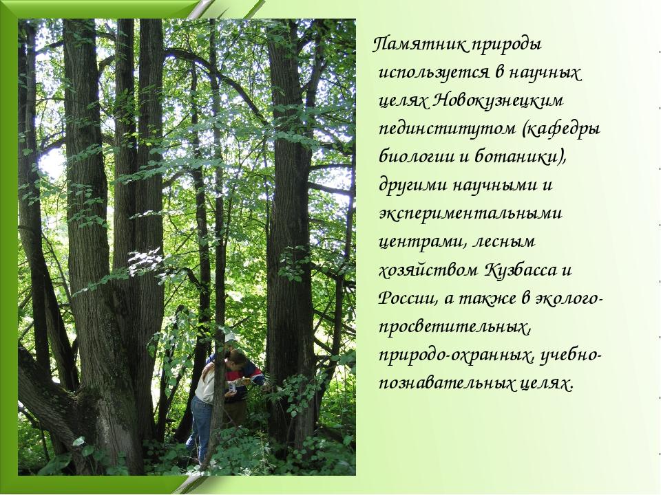 Памятник природы используется в научных целях Новокузнецким пединститутом (к...