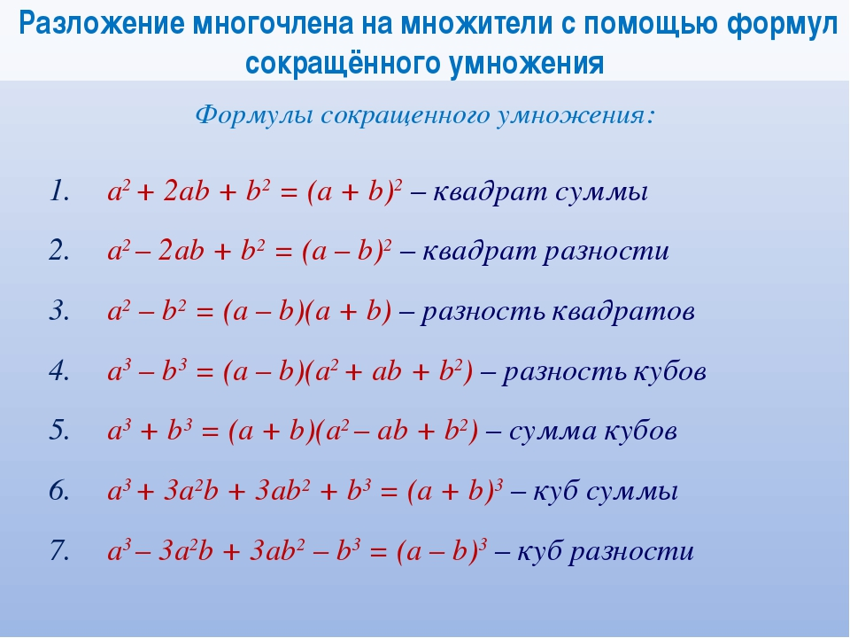 Разложение многочлена на множители с помощью формул сокращённого умножения Ф...