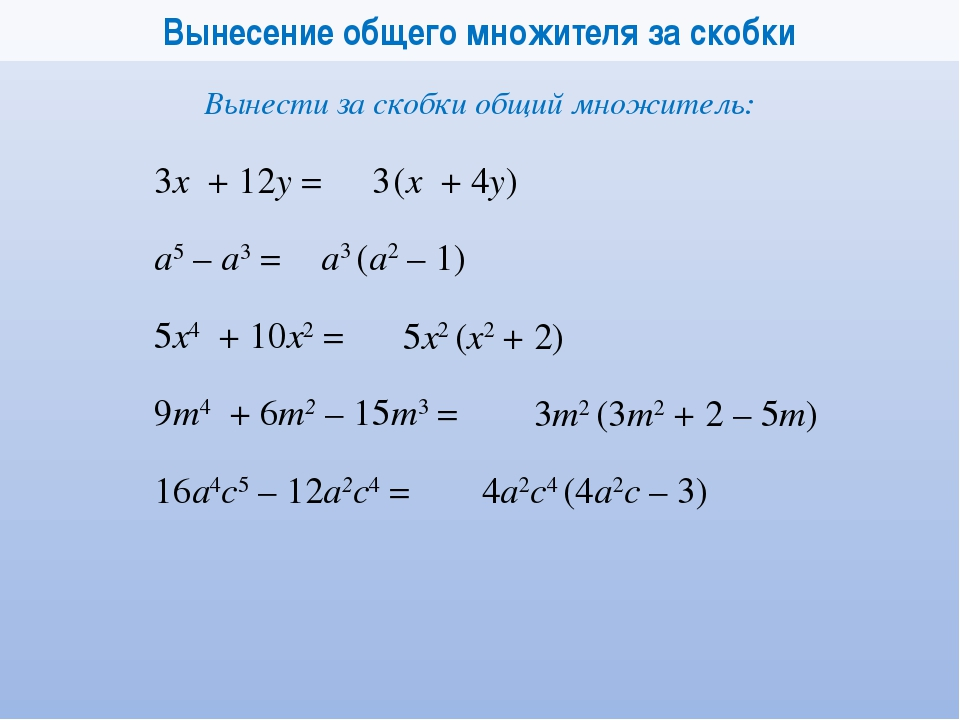 Вынесение общего множителя за скобки 3x + 12у = 3 (x + 4у) а5 – а3 = а3 (а2...