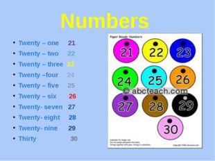 Numbers Twenty – one 21 Twenty – two 22 Twenty – three 23 Twenty –four 24 Twe