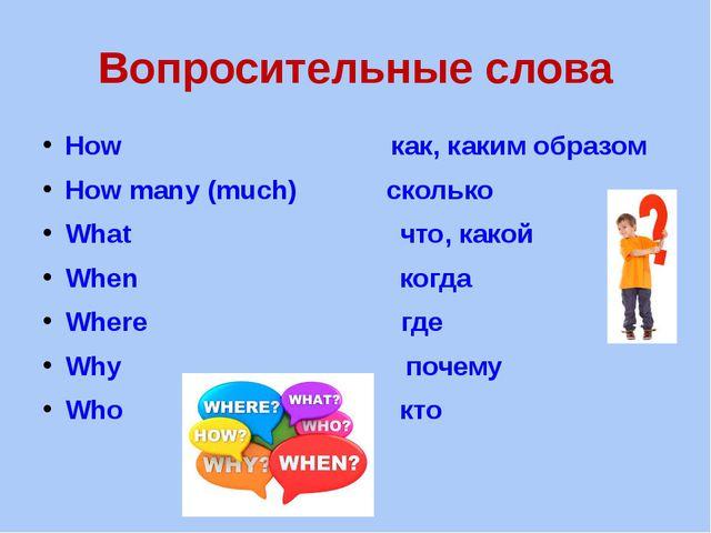 Вопросительные слова How как, каким образом How many (much) сколько What что,...
