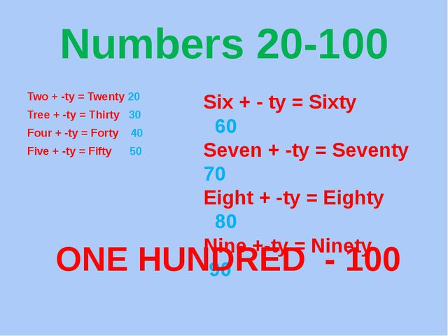 Numbers 20-100 Two + -ty = Twenty 20 Tree + -ty = Thirty 30 Four + -ty = Fort...
