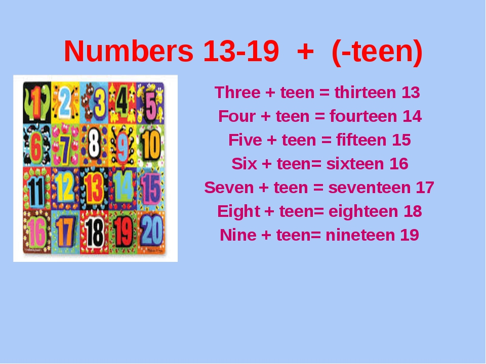 Numbers 13-19 + (-teen) Three + teen = thirteen 13 Four + teen = fourteen 14...