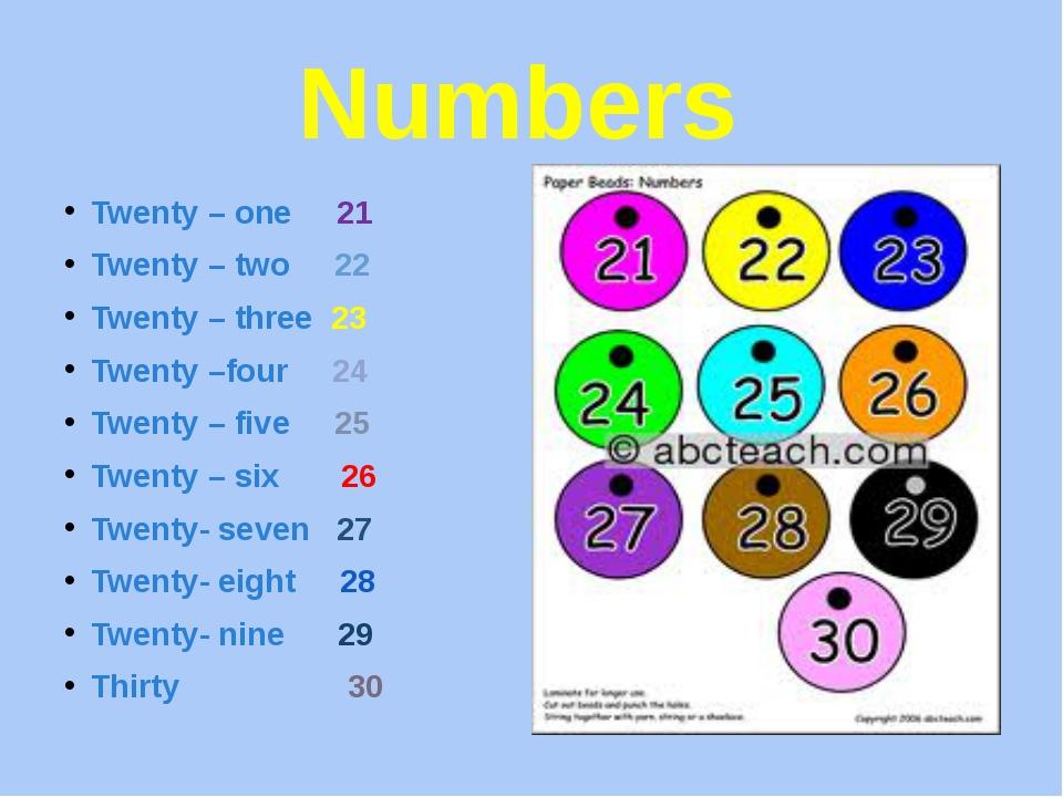 Numbers Twenty – one 21 Twenty – two 22 Twenty – three 23 Twenty –four 24 Twe...