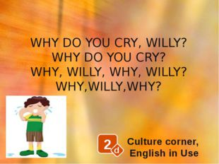 2 d Culture corner, English in Use WHY DO YOU CRY, WILLY? WHY DO YOU CRY? WHY