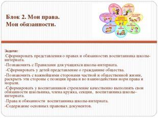 Задачи: -Сформировать представления о правах и обязанностях воспитанника школ