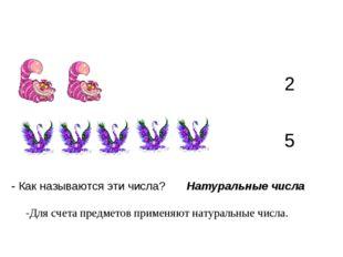 2 5 - Как называются эти числа? Натуральные числа -Для счета предметов примен