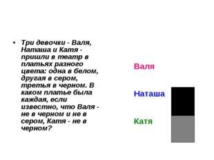 Три девочки - Валя, Наташа и Катя - пришли в театр в платьях разного цвета: о