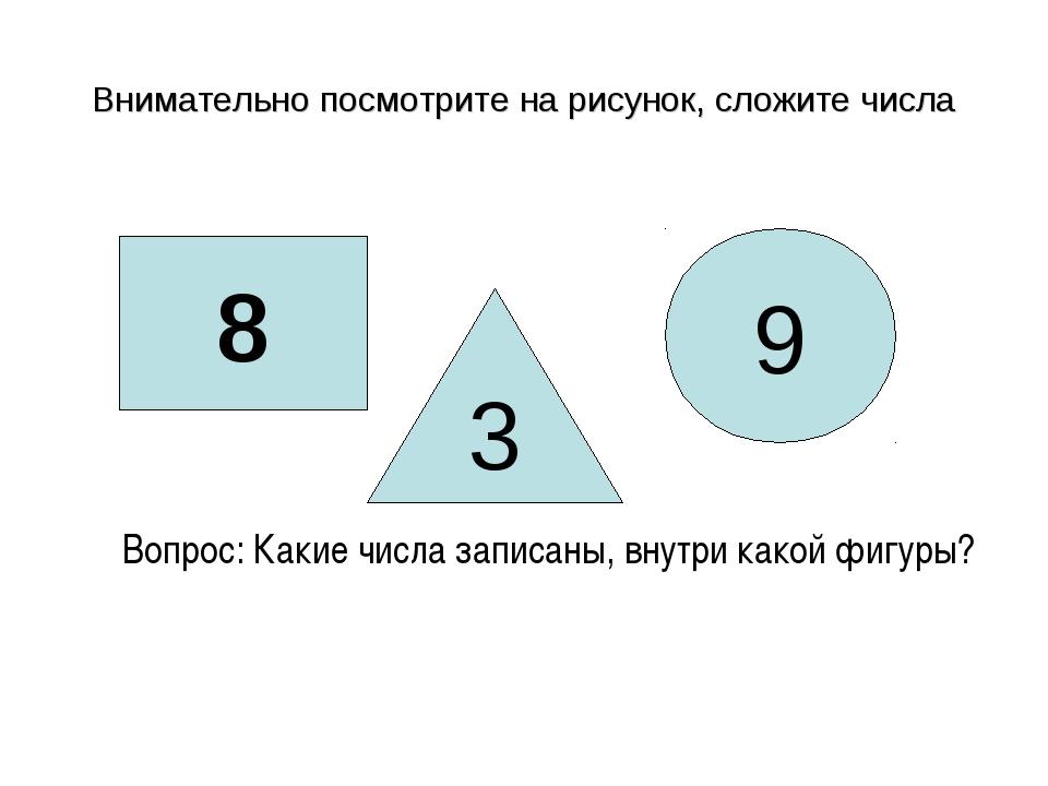 Внимательно посмотрите на рисунок, сложите числа 8 3 9 Вопрос: Какие числа за...