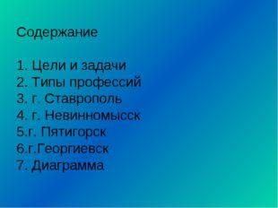 Содержание 1. Цели и задачи 2. Типы профессий 3. г. Ставрополь 4. г. Невинном