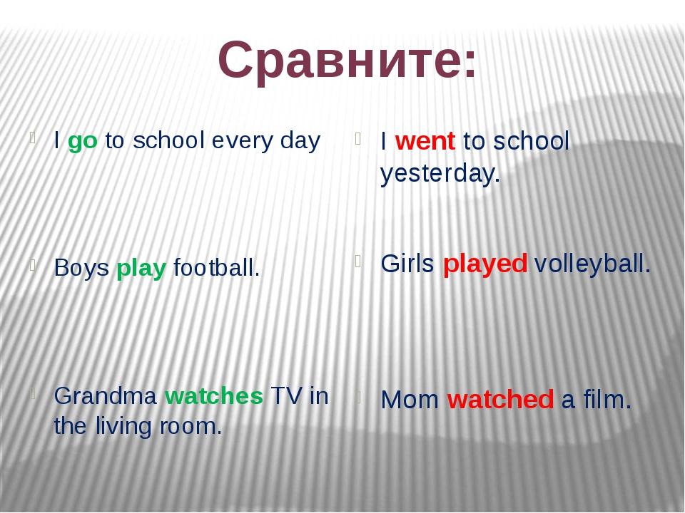 Сравните: I go to school every day Boys play football. Grandma watches TV...