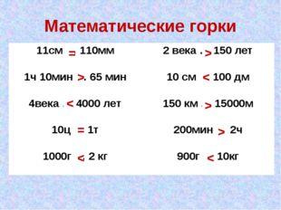 Математические горки = > < = < > < > > < 11см … 110мм 2 века … 150 лет 1ч 10м
