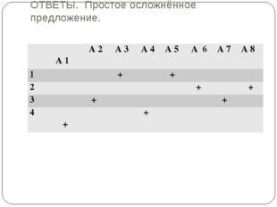 ОТВЕТЫ. Простое осложнённое предложение.  А 1 А 2 А 3 А 4 А 5 А 6  А