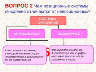 ВОПРОС 2 Чем позиционные системы счисления отличаются от непозиционных? 1 5 6