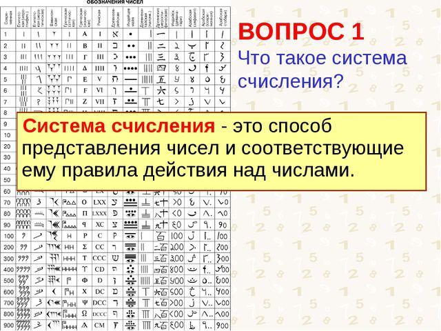 ВОПРОС 1 Что такое система счисления? Система счисления - это способ представ...