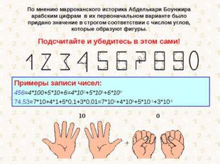 По мнению марроканского историка Абделькари Боунжира арабским цифрам в их пер