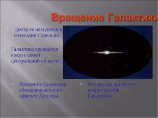 Галактика вращается вокруг своей центральной области Центр ее находится в соз