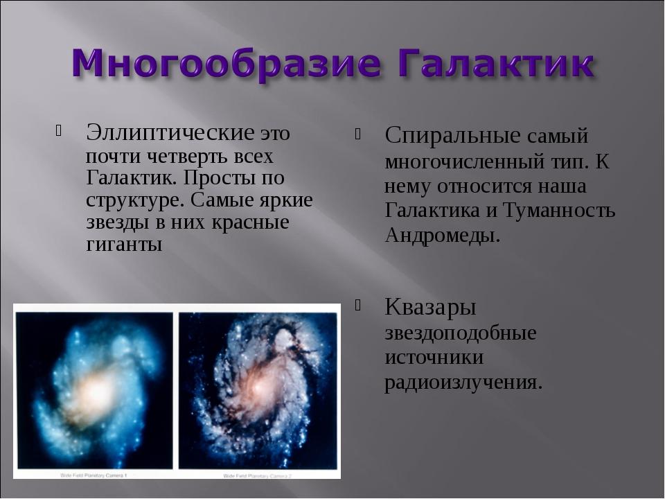 Эллиптические это почти четверть всех Галактик. Просты по структуре. Самые яр...