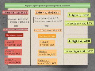 Формулы корней простых тригонометрических уравнений 1.cost = а , где |а| ≤ 1