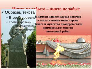 Ничто не забыто – никто не забыт В памяти нашего народа навечно останутся име