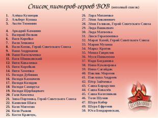 Список пионеров-героев ВОВ (неполный список) Алёша Кузнецов Альберт Купша Акс