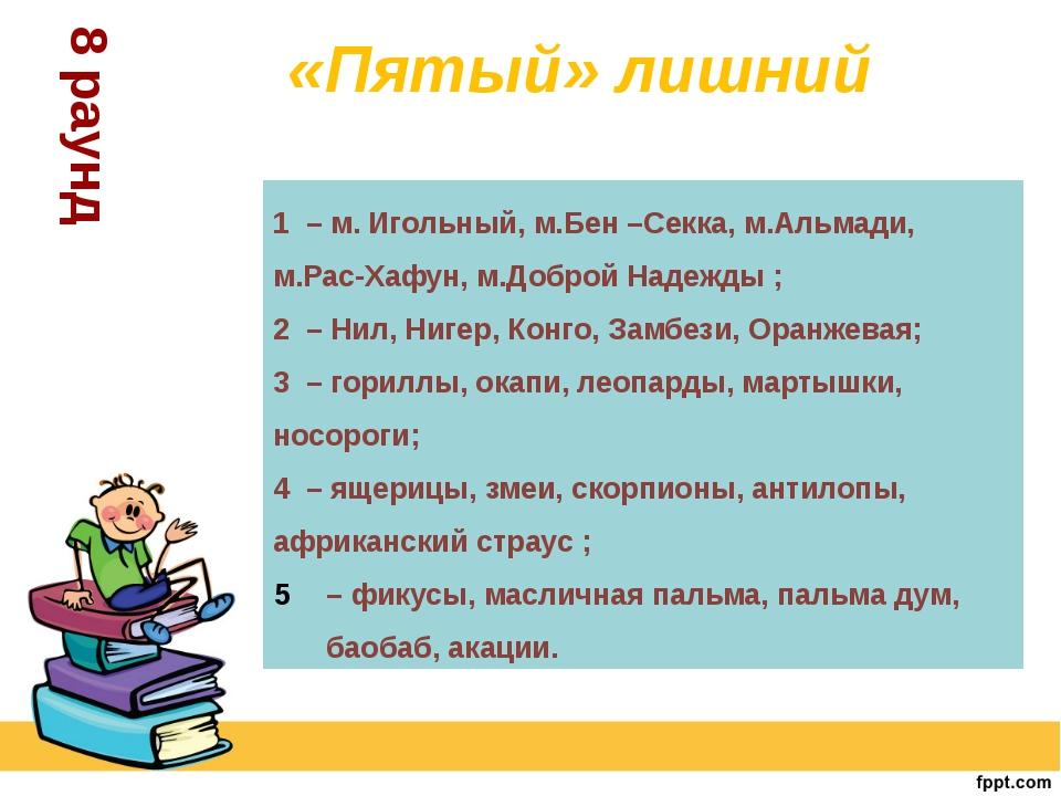 8 раунд 1 – м. Игольный, м.Бен –Секка, м.Альмади, м.Рас-Хафун, м.Доброй Наде...