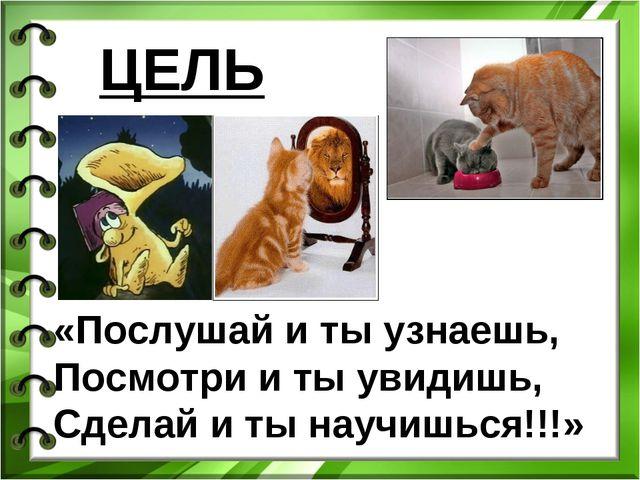 ЦЕЛЬ: «Послушай и ты узнаешь, Посмотри и ты увидишь, Сделай и ты научишься!!!»