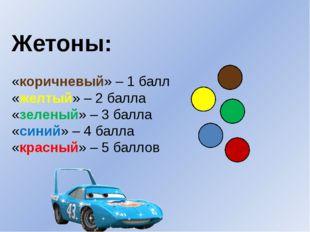 Жетоны: «коричневый» – 1 балл «желтый» – 2 балла «зеленый» – 3 балла «синий»