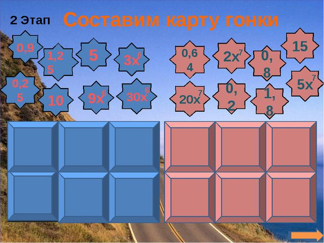 2 Этап Составим карту гонки 0,9 1,25 10 0,25 5 9х 3х 30х 6 6 6 0,64 20х 0,2 2...