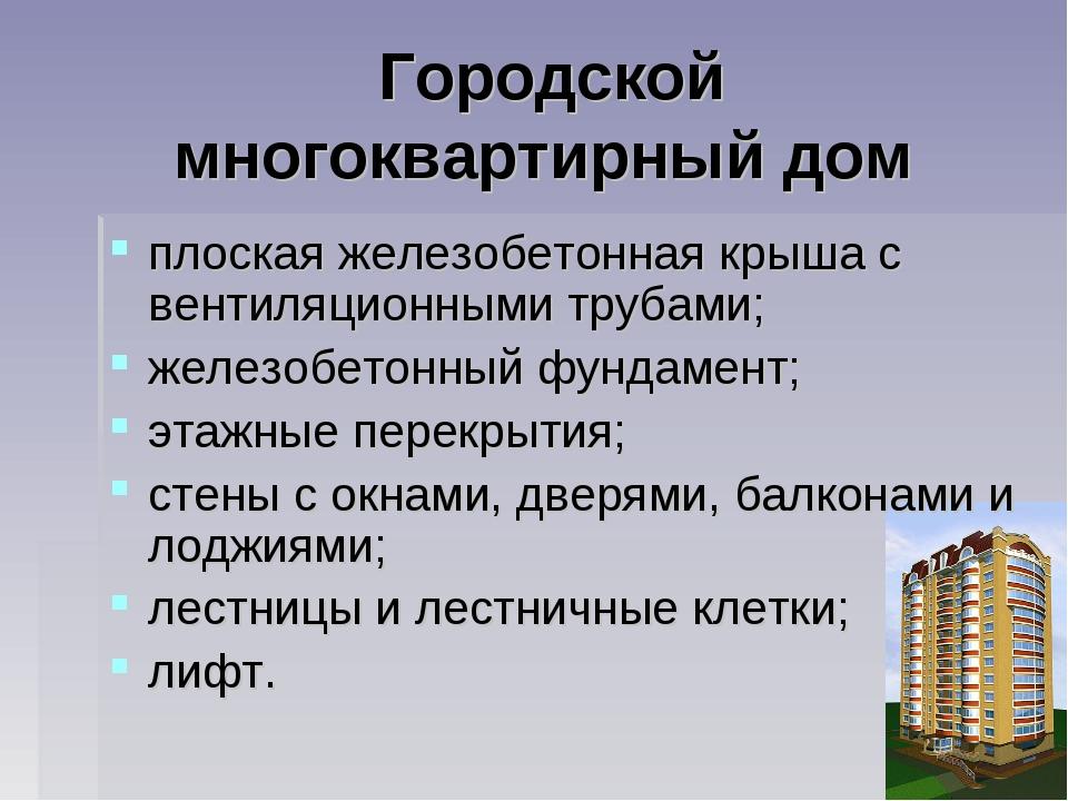 Городской многоквартирный дом плоская железобетонная крыша с вентиляционными...