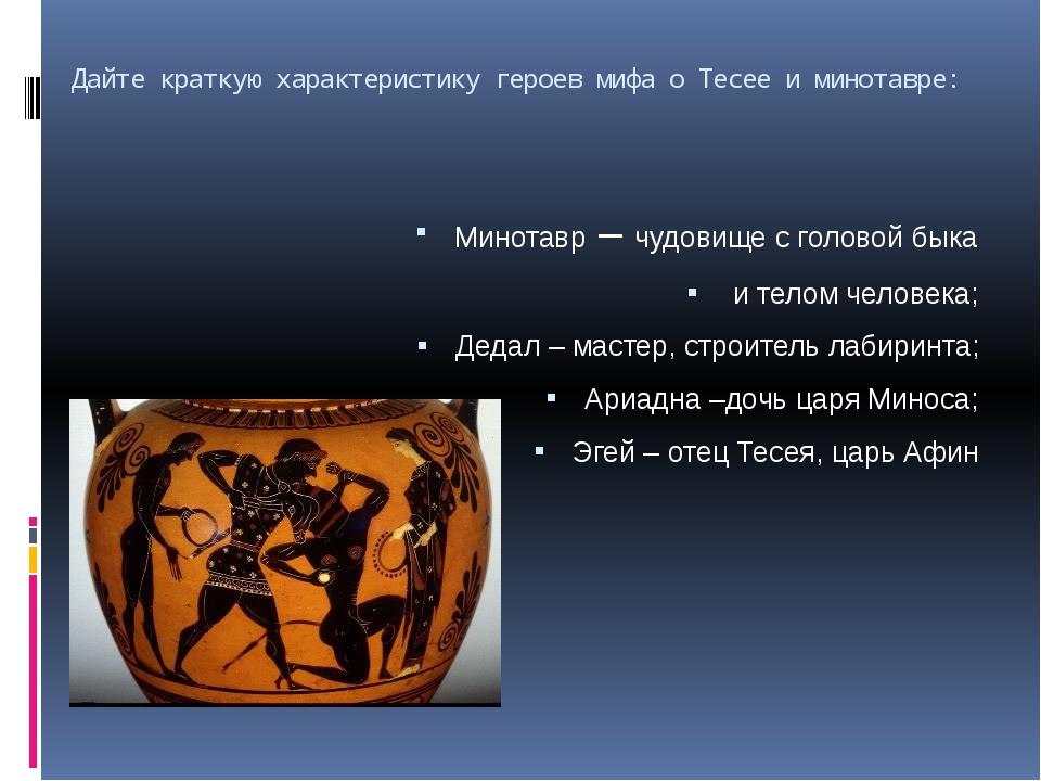 Дайте краткую характеристику героев мифа о Тесее и минотавре: Минотавр – чудо...