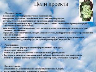 Цели проекта Образовательные: - познакомиться с историей изучения лишайников;