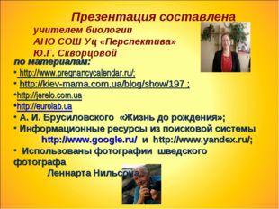 Презентация составлена учителем биологии АНО СОШ Уц «Перспектива» Ю.Г. Сквор