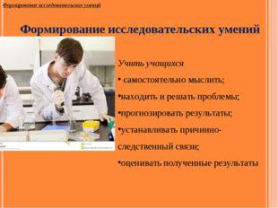 Формирование исследовательских умений Формирование исследовательских умений У