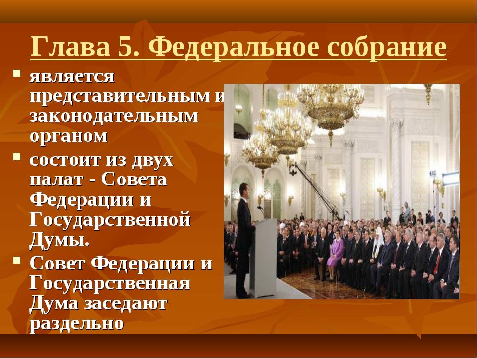 Глава 5. Федеральное собрание является представительным и законодательным орг...