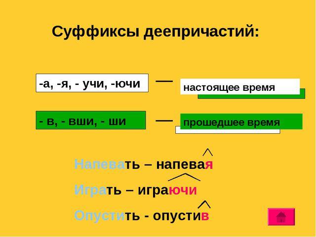 Суффиксы деепричастий: - в, - вши, - ши -а, -я, - учи, -ючи Напевать – напева...