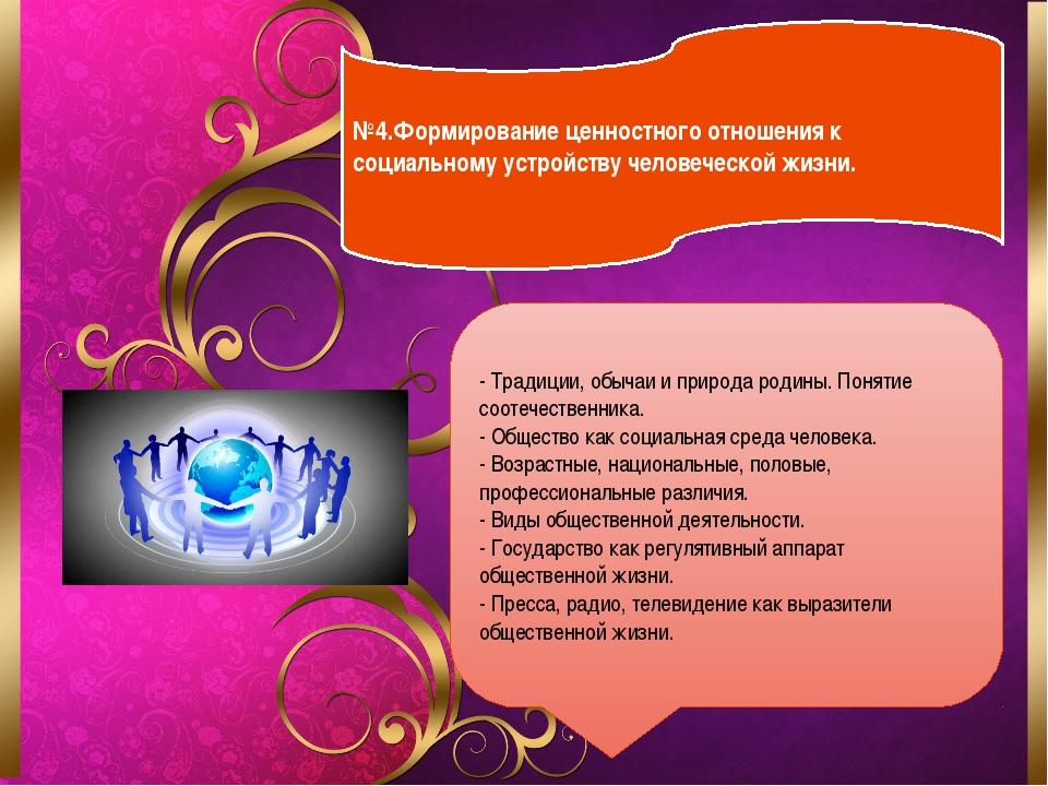 №4.Формирование ценностного отношения к социальному устройству человеческой...