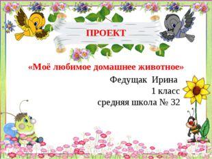 ПРОЕКТ «Моё любимое домашнее животное» Федущак Ирина 1 класс средняя школа №