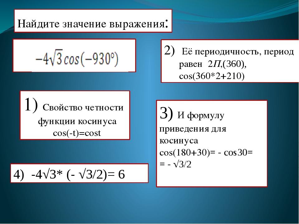 Найдите значение выражения: 2) Её периодичность, период равен 2П,(360), cos(...