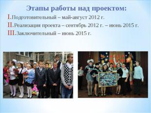 Этапы работы над проектом: Подготовительный – май-август 2012 г. Реализация п