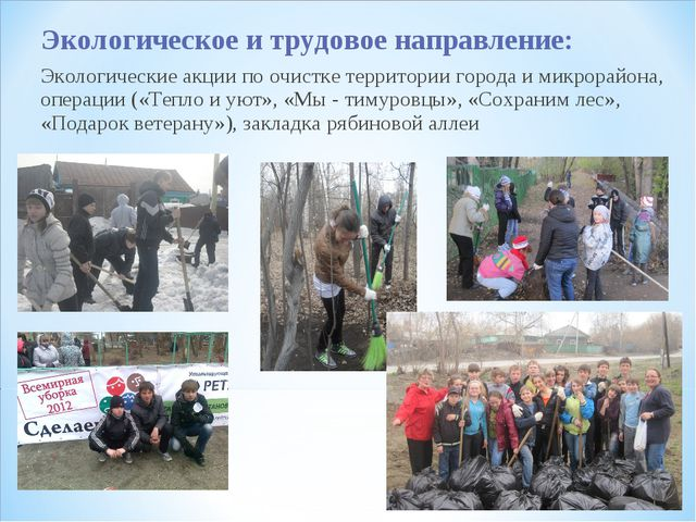 Экологическое и трудовое направление: Экологические акции по очистке территор...