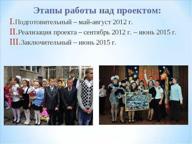 Этапы работы над проектом: Подготовительный – май-август 2012 г. Реализация п...