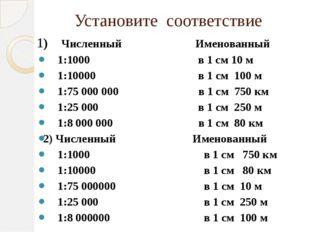 Установите соответствие 1) Численный Именованный 1:1000 в 1 см 10 м 1:10000