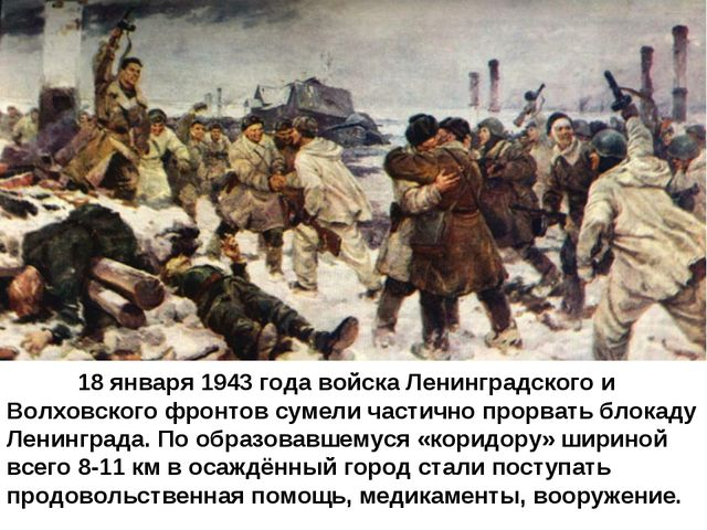 18 января 1943 года войска Ленинградского и Волховского фронтов сумели част...