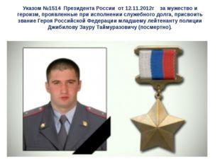 Указом №1514 Президента России от 12.11.2012г за мужество и героизм, проявлен